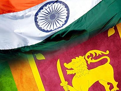 Sri Lanka and India flags together