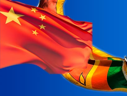 China flag with Sri Lanka flag