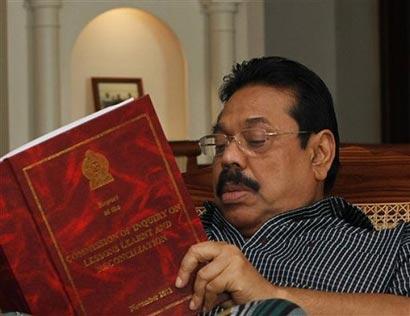 President Mahinda Rajapaksa Reads LLRC Report