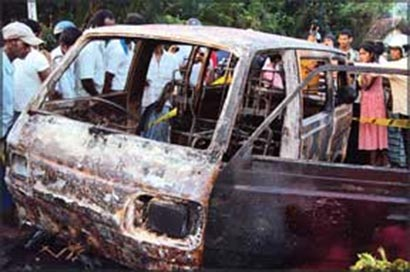 van erupts in flames Sri Lanka