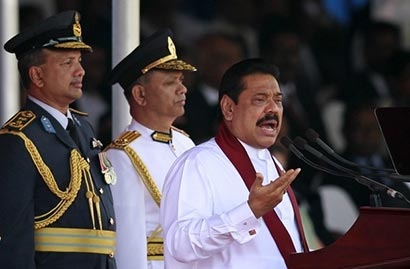 Sri Lanka President Mahinda Rajapaksa addresses the nation during 64th Independence Day celebrations in Anuradhapura February 4 2012