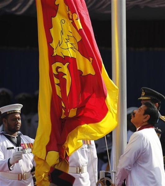 Sri Lanka President Mahinda Rajapaksa at 64th Independence Day celebrations in Anuradhapura February 4 2012