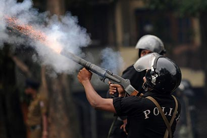 Tear gas canister shooting in Sri Lanka