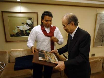 Namal Rajapaksa with Yasushi Akashi in Japan