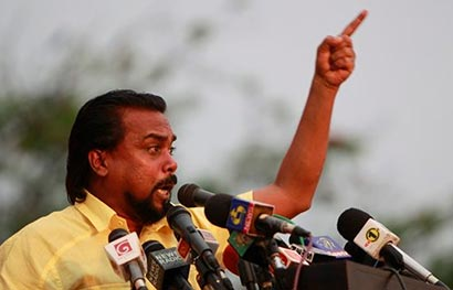 Wimal Weerawansa speaking in a public rally
