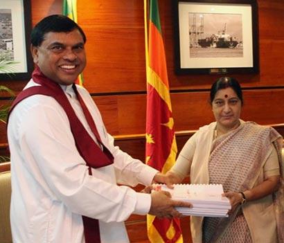 Basil Rajapaksa with Sushma Swaraj