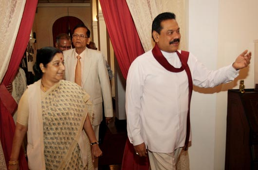 Mahinda Rajapaksa with Sushma Swaraj at President House