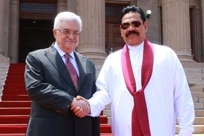 Palestinian Leader Mahmoud Abbas meets President Rajapaksa