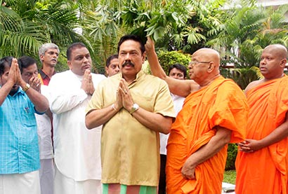 President Mahinda Rajapaksa oil anointing ceremony in Tangalle