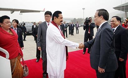 President Rajapaksa arrives South Korea