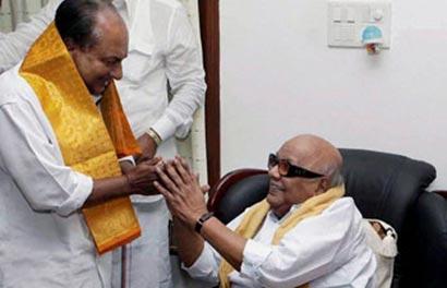 Karunanidhi with AK Antony