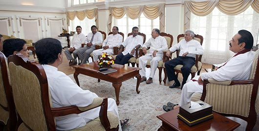 Sri Lanka president and Ranil meeting
