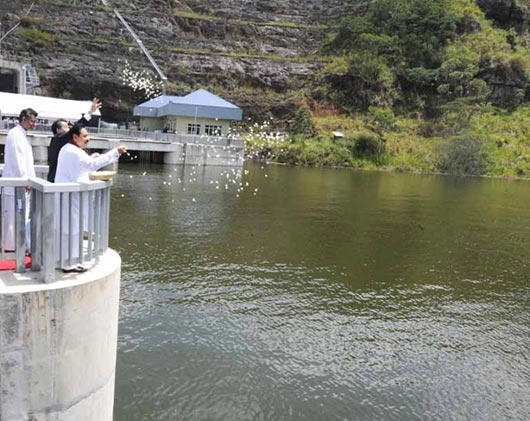 Sluice gates of the Upper Kotmale Hydro Power Project declared open by Sri Lanka President Mahinda Rajapaksa