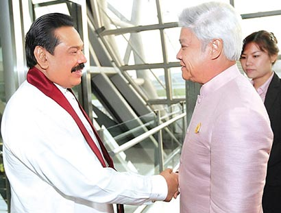 President Mahinda Rajapaksa arrived at Suvarnabhumi Airport in Bangkok for a fourday visit to Thailand.