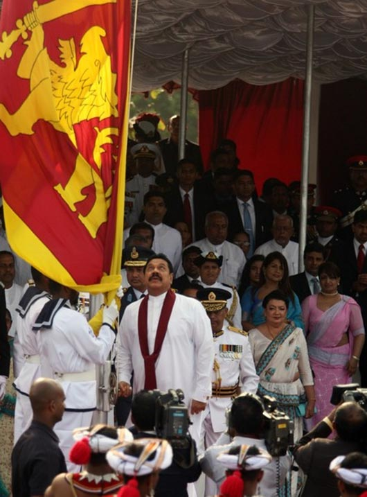 Sri Lankan president Mahinda Rajapaksa in the war victory military parade to commemorate the third anniversary of the end of the civil war