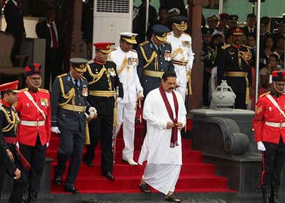 Sri Lankan president Mahinda Rajapaksa inspect the war victory military parade to commemorate the third anniversary of the end of the civil war