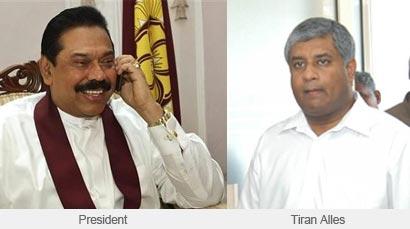Tiran Alles with President Rajapaksa