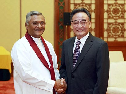 Chamal Rajapaksa with Wu Bangguo in China