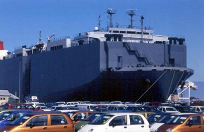 Hambantota port ship carrying vehicles