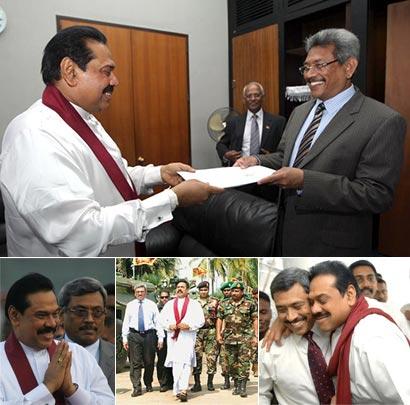 President Mahinda Rajapaksa with Defence Secretary Gotabhaya Rajapaksa