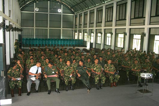 Senior Lecturer of the University of Colombo Prof.W.P. Gamini De Silva giving lecture for Defence staff Sri Lanka