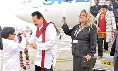 Sri Lanka President Mahinda Rajapaksa at Heathrow Airport