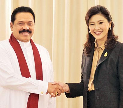 Sri Lanka President Mahinda Rajapaksa with Thailand Prime Minister