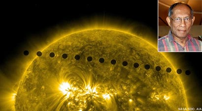 Venus transit compilation image of venus going between earth and sun Chandra Wickramasinghe
