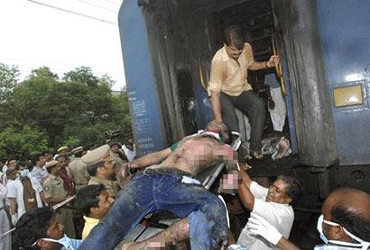 Burnt people of a Tamil Nadu train