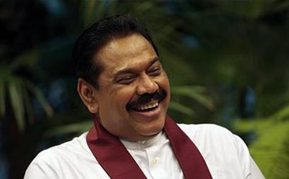 Happy moment of Sri Lanka President Mahinda Rajapaksa