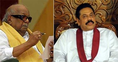 Karunanidhi and President Mahinda Rajapaksa