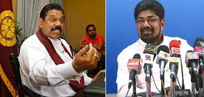 President Mahinda Rajapaksa and Media Minister Keheliya