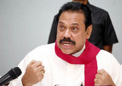 Sri Lanka President Mahinda Rajapaksa at a meeting
