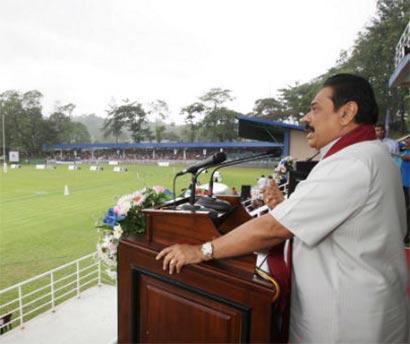Sri Lanka President Mahinda Rajapaksa at Jayathilake Sports Complex in Nawalapitiya