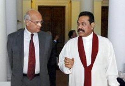 Sri Lanka President with Shivshankar Menon