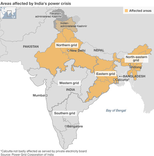 Areas affected by India power crisis July 2012
