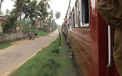 Moving train in Sri Lanka