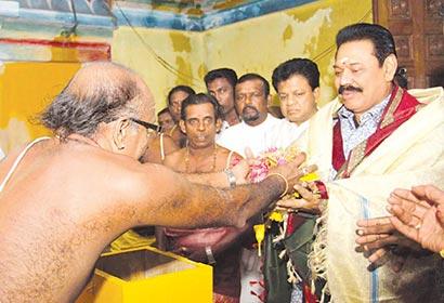 President Mahinda Rajapaksa paid homage at the Kathiresan Kovil in Anuradhapura