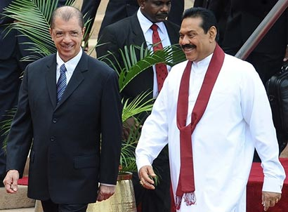 President of the republic of Seychelles James Alix-Miche with former Sri Lankan President Mahinda Rajapaksa
