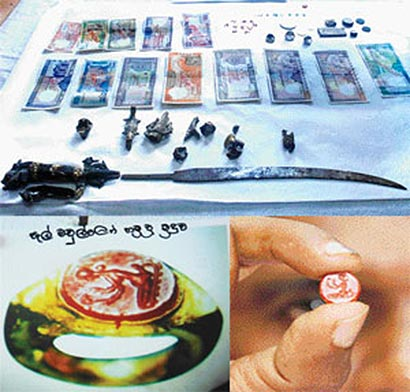Recovered artefacts belonging to the National Museum of Sri Lanka