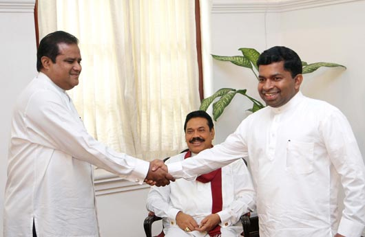 New Chief Minister Abdul Majeed with Sivanesathurai Chandrakanthan
