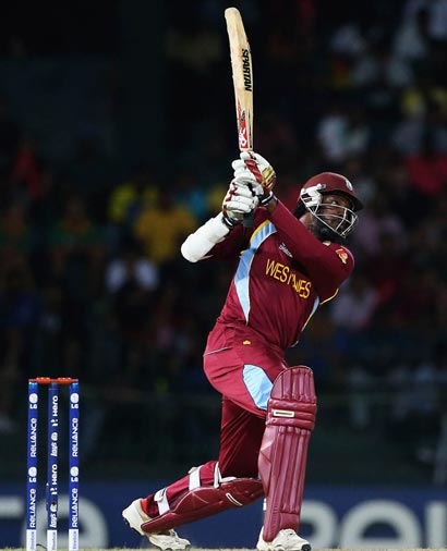 Chris  Gayle batting in ICC Twenty 20 World Cup