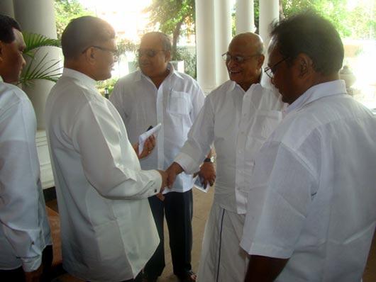 Rajya Sabha MPs Hon. B.S. Gnanadesikan and Hon. T.K. Rangarajan being Received by the Deputy High Commissioner