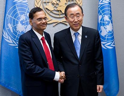 Prof. G.L.Peiris with Mr. Ban Ki Moon