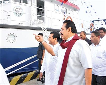 President Mahinda Rajapaksa at Hambantota harbour