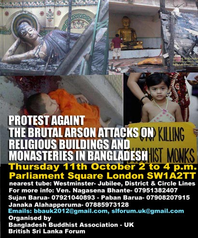 UK Buddhists protest against arson attacks on Buddhist temples and villagers in Bangladesh