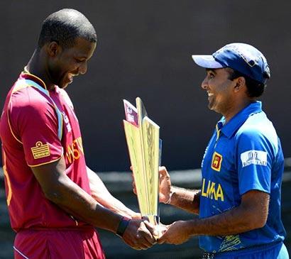 Sri Lankan captain Mahela Jayawardene and his West Indies counterpart Darren Sammy