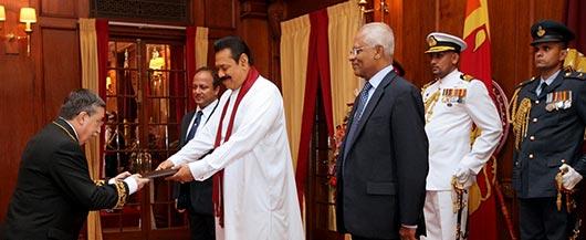 Four foreign envoys to Sri Lanka present credentials