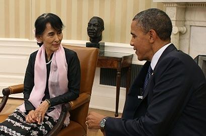 President Barack Obama with Aung San Suu Kyi