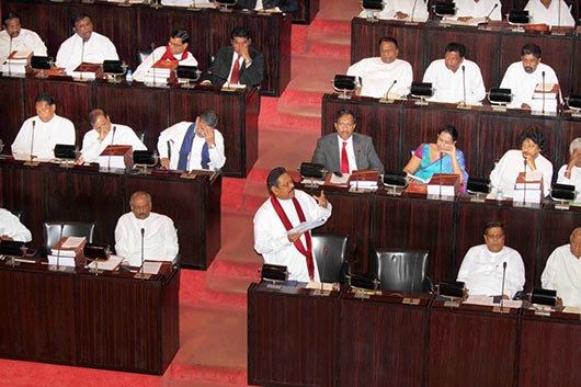 President Rajapaksa presenting the 2013 Budget Proposals in Parliament